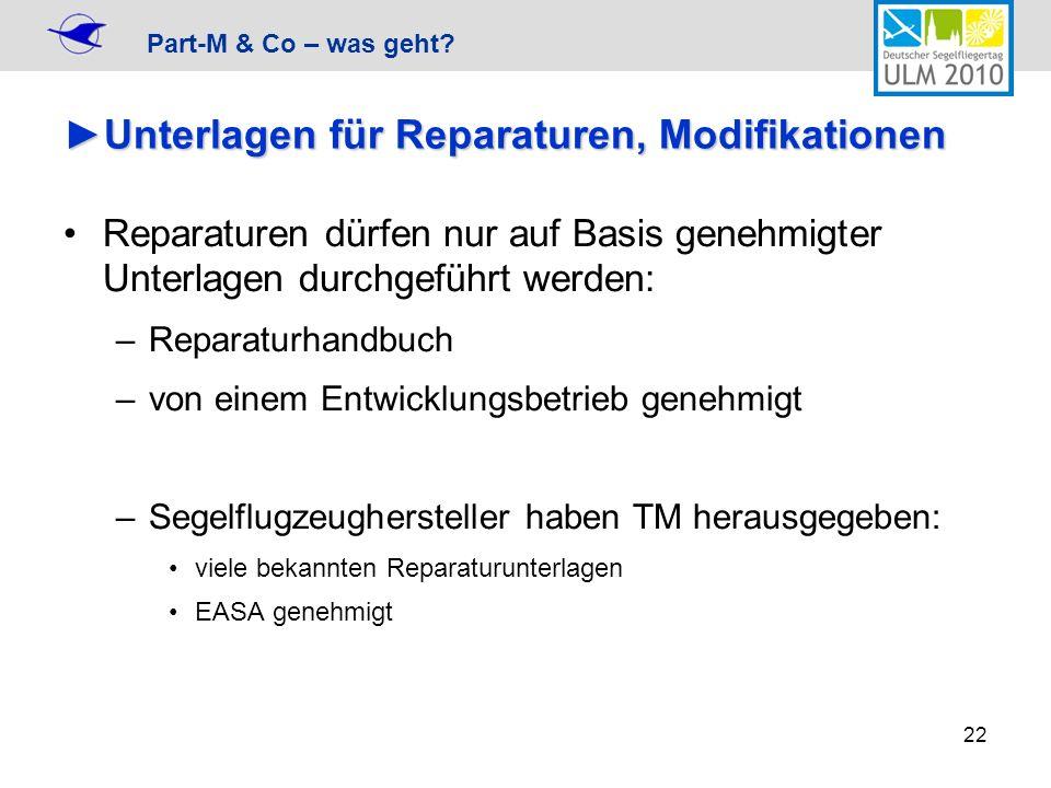 Part-M & Co – was geht? 22 Unterlagen für Reparaturen, ModifikationenUnterlagen für Reparaturen, Modifikationen Reparaturen dürfen nur auf Basis geneh