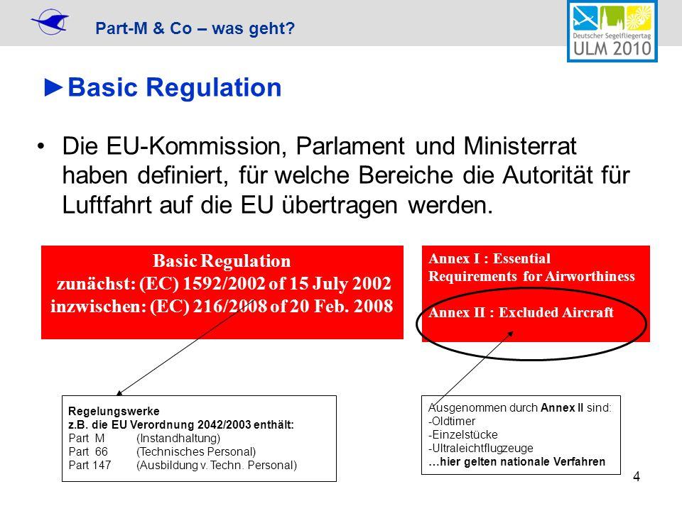 Part-M & Co – was geht? 4 Basic Regulation Die EU-Kommission, Parlament und Ministerrat haben definiert, für welche Bereiche die Autorität für Luftfah