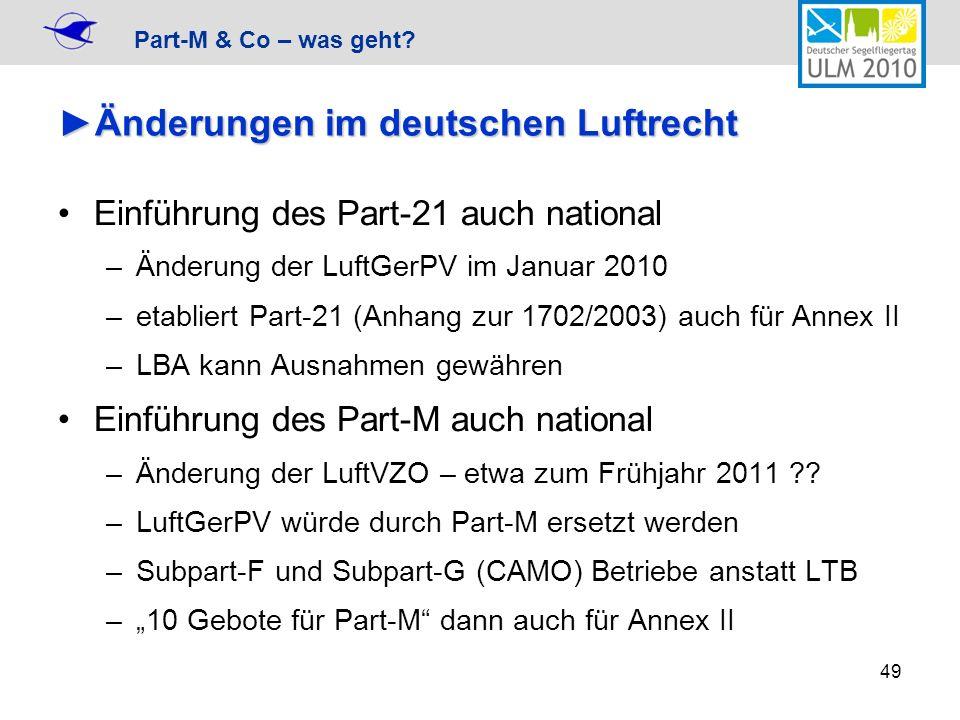 Part-M & Co – was geht? 49 Änderungen im deutschen LuftrechtÄnderungen im deutschen Luftrecht Einführung des Part-21 auch national –Änderung der LuftG