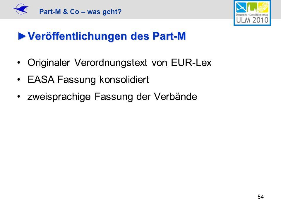 Part-M & Co – was geht? 54 Veröffentlichungen des Part-MVeröffentlichungen des Part-M Originaler Verordnungstext von EUR-Lex EASA Fassung konsolidiert