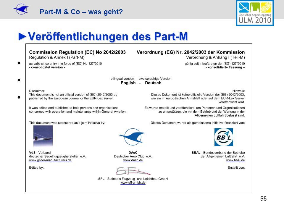 Part-M & Co – was geht? 55 Veröffentlichungen des Part-MVeröffentlichungen des Part-M Originaler Verordnungstext von EUR-Lex EASA Fassung konsolidiert