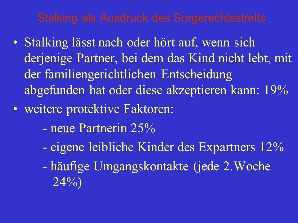 Stalking als Ausdruck des Sorgerechtsstreits Stalking lässt nach oder hört auf, wenn sich derjenige Partner, bei dem das Kind nicht lebt, mit der fami