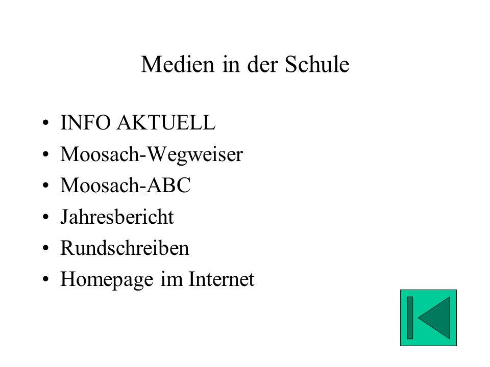 Medien in der Schule INFO AKTUELL Moosach-Wegweiser Moosach-ABC Jahresbericht Rundschreiben Homepage im Internet