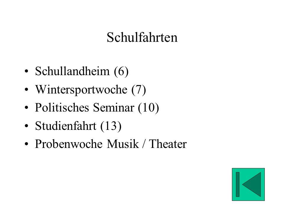 Schulfahrten Schullandheim (6) Wintersportwoche (7) Politisches Seminar (10) Studienfahrt (13) Probenwoche Musik / Theater
