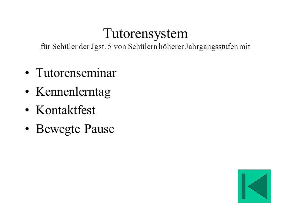 Tutorensystem für Schüler der Jgst.