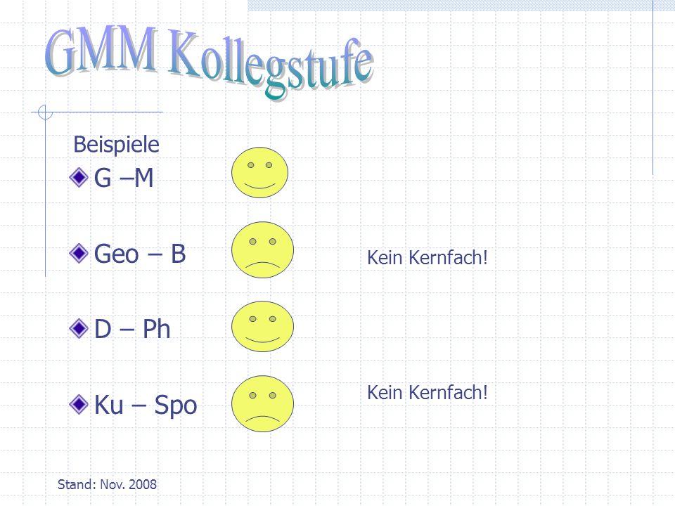 Stand: Nov. 2008 G –M Geo – B D – Ph Ku – Spo Kein Kernfach! Beispiele