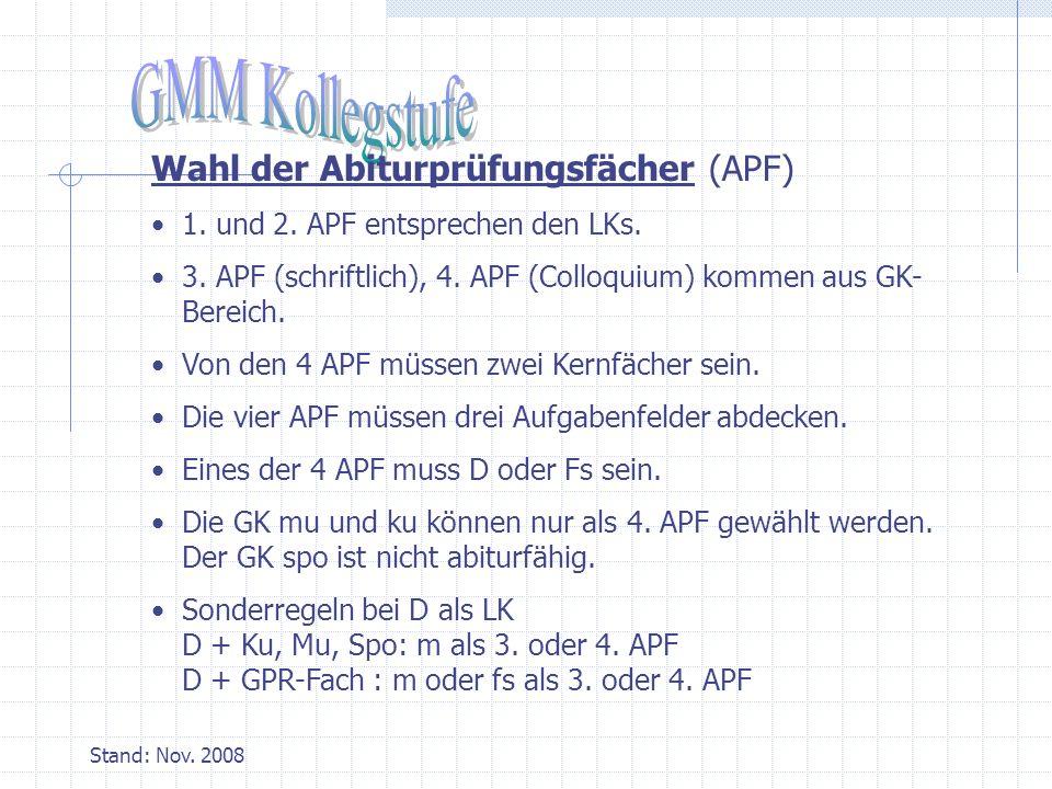 Stand: Nov.2008 Wahl der Abiturprüfungsfächer (APF) 1.