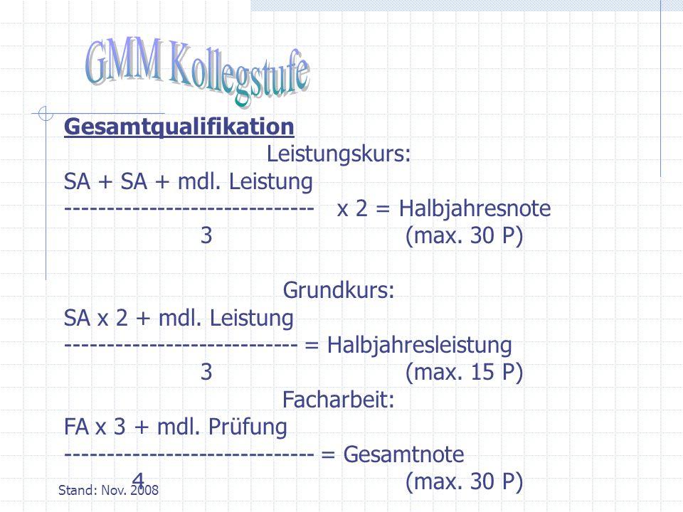 Stand: Nov.2008 Gesamtqualifikation Leistungskurs: SA + SA + mdl.