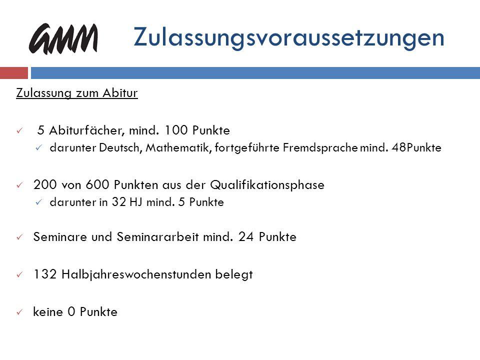 Abitur (Wahl-)Pflicht - Einbringung: 30 HJL Profil - Einbringung: 10 HJL 40 x 15 P. = 600 P. 5 Abiturprüfungsfächer 5 x 60 P. = 300 P. max. 900 Punkte