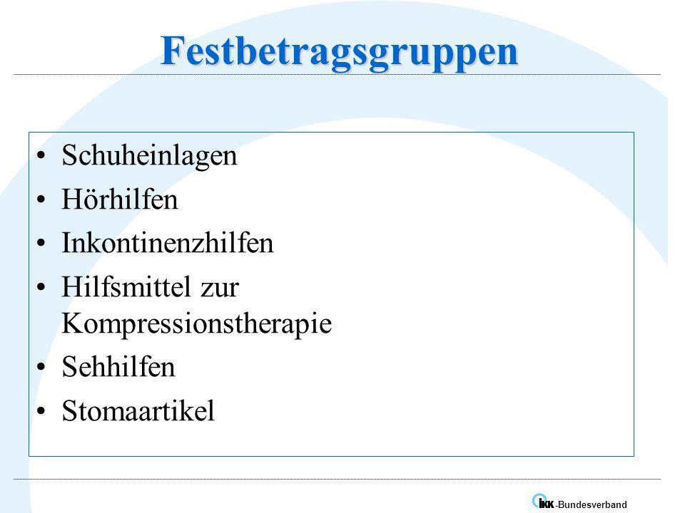 IK -Bundesverband Festbetragsgruppen Schuheinlagen Hörhilfen Inkontinenzhilfen Hilfsmittel zur Kompressionstherapie Sehhilfen Stomaartikel