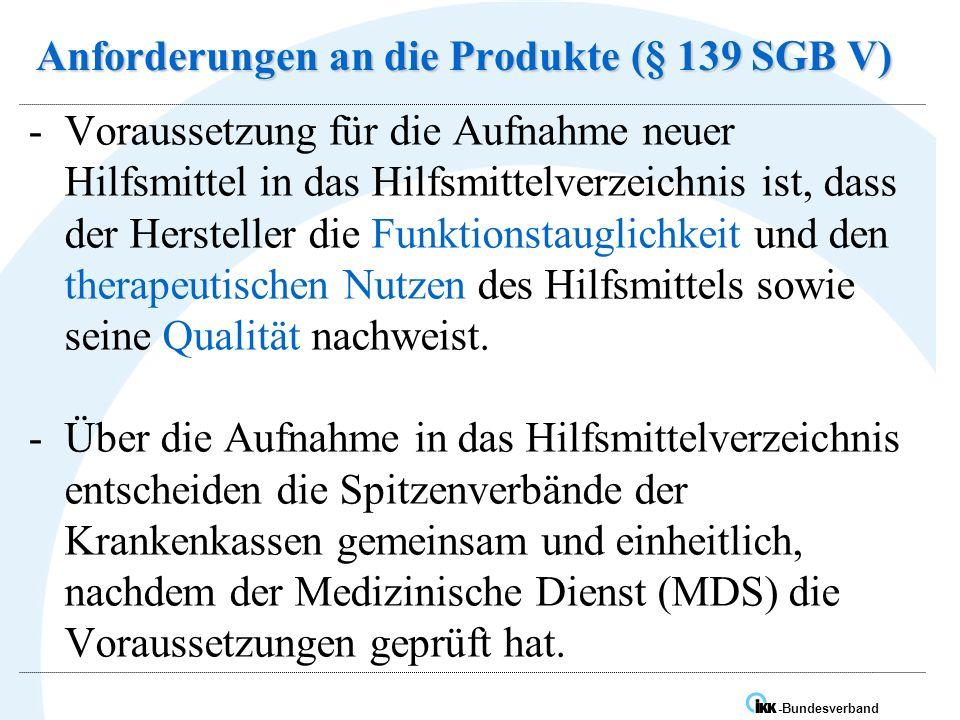 IK -Bundesverband Anforderungen an die Produkte (§ 139 SGB V) -Voraussetzung für die Aufnahme neuer Hilfsmittel in das Hilfsmittelverzeichnis ist, dass der Hersteller die Funktionstauglichkeit und den therapeutischen Nutzen des Hilfsmittels sowie seine Qualität nachweist.