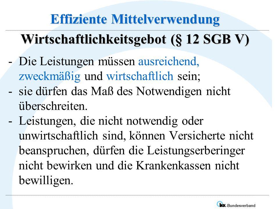 IK -Bundesverband Effiziente Mittelverwendung Wirtschaftlichkeitsgebot (§ 12 SGB V) -Die Leistungen müssen ausreichend, zweckmäßig und wirtschaftlich sein; -sie dürfen das Maß des Notwendigen nicht überschreiten.