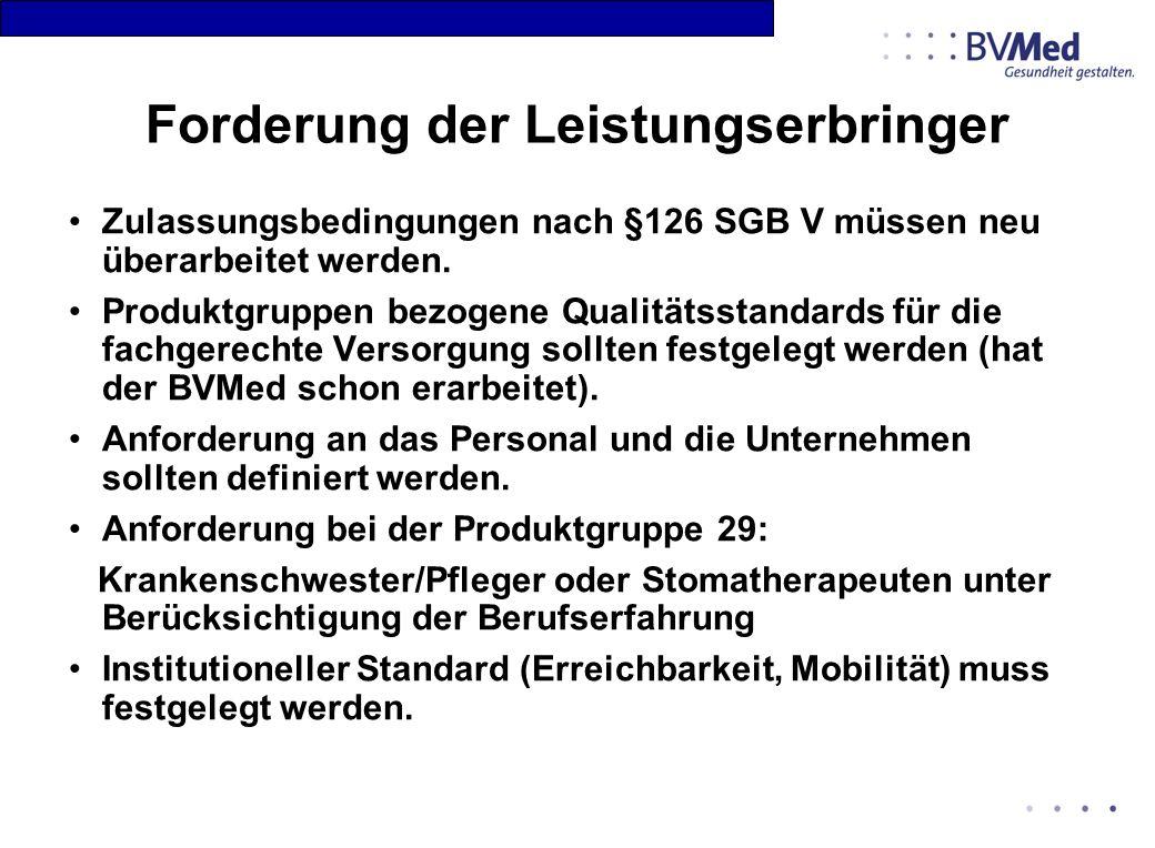 Forderung der Leistungserbringer Zulassungsbedingungen nach §126 SGB V müssen neu überarbeitet werden. Produktgruppen bezogene Qualitätsstandards für