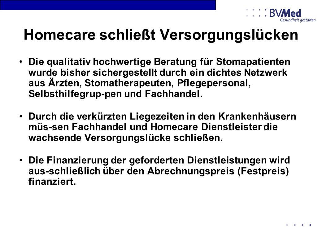 Homecare schließt Versorgungslücken Die qualitativ hochwertige Beratung für Stomapatienten wurde bisher sichergestellt durch ein dichtes Netzwerk aus