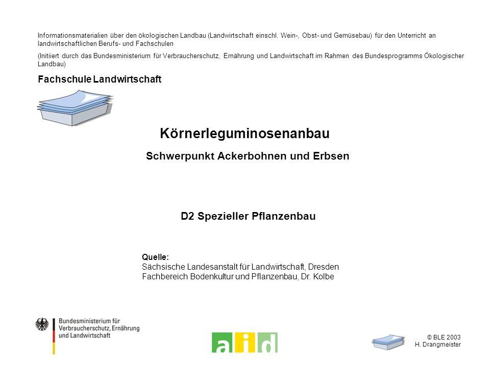 © BLE 2003 H.Drangmeister 2 / 18 Was spricht für den Anbau von Körnerleguminosen.