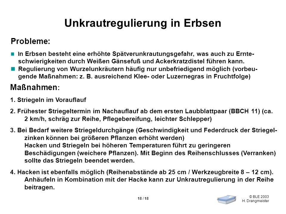 © BLE 2003 H. Drangmeister 18 / 18 Unkrautregulierung in Erbsen Maßnahmen : 1.