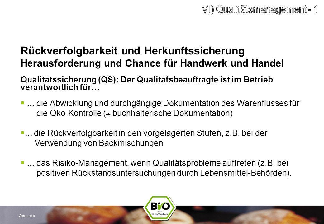 © BLE 2006 Rückverfolgbarkeit und Herkunftssicherung Herausforderung und Chance für Handwerk und Handel Qualitätssicherung (QS): Der Qualitätsbeauftra