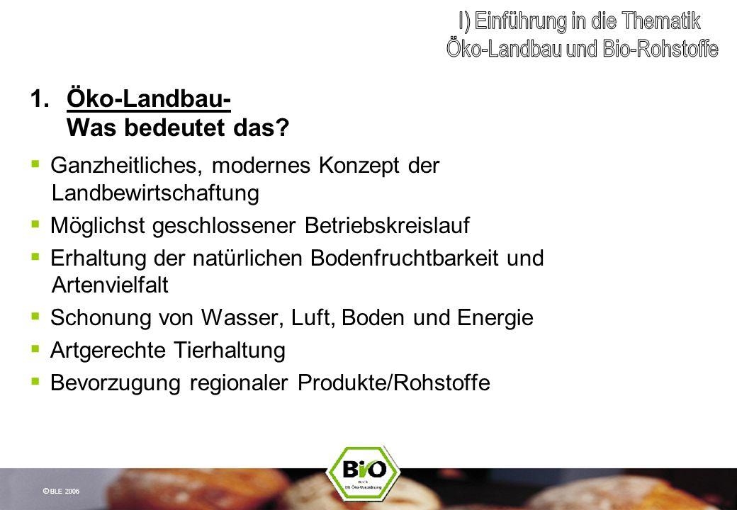 © BLE 2006 1.Öko-Landbau- Was bedeutet das? Ganzheitliches, modernes Konzept der Landbewirtschaftung Möglichst geschlossener Betriebskreislauf Erhaltu
