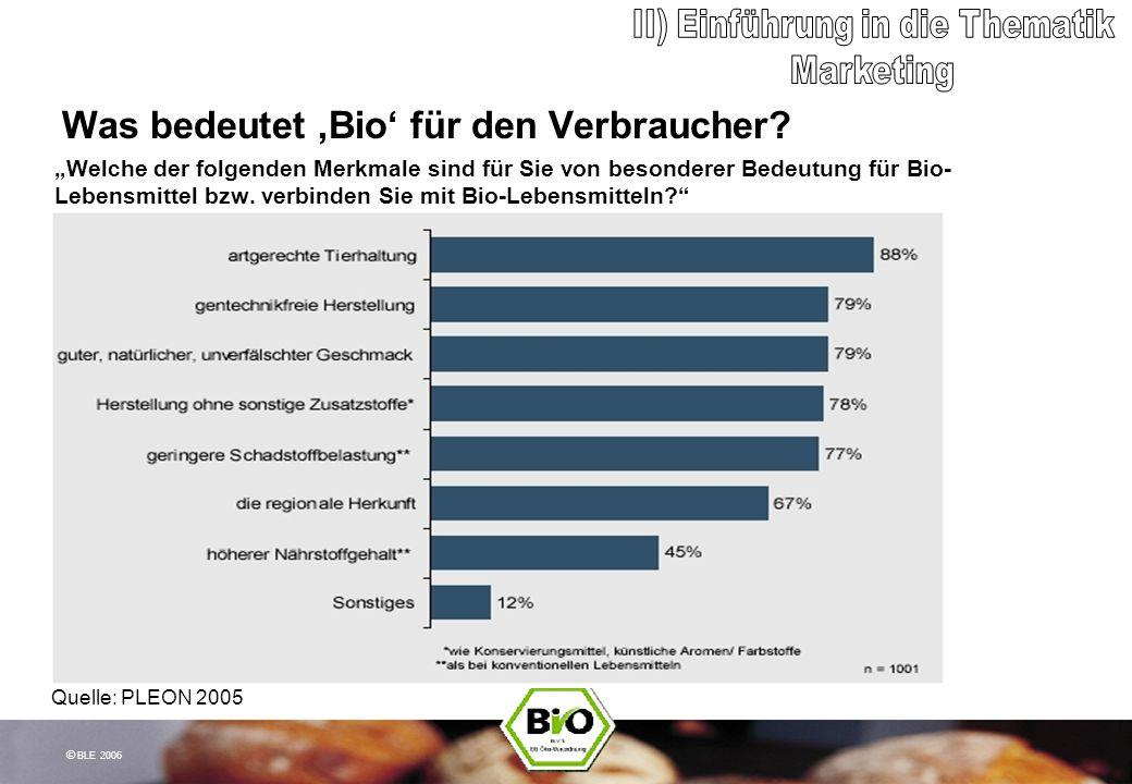 © BLE 2006 Was bedeutet Bio für den Verbraucher? Welche der folgenden Merkmale sind für Sie von besonderer Bedeutung für Bio- Lebensmittel bzw. verbin