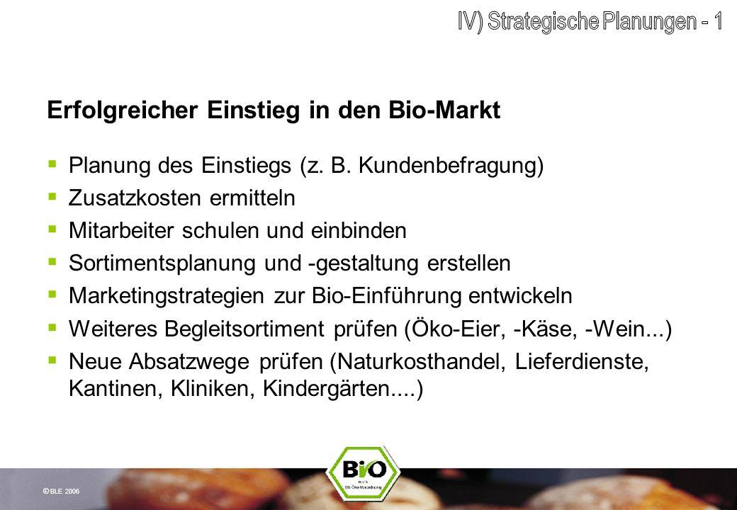 © BLE 2006 Erfolgreicher Einstieg in den Bio-Markt Planung des Einstiegs (z. B. Kundenbefragung) Zusatzkosten ermitteln Mitarbeiter schulen und einbin