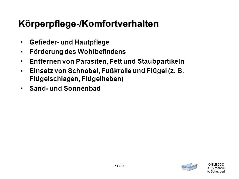 © BLE 2003 C. Simantke A. Schubbert 14 / 38 Körperpflege-/Komfortverhalten Gefieder- und Hautpflege Förderung des Wohlbefindens Entfernen von Parasite