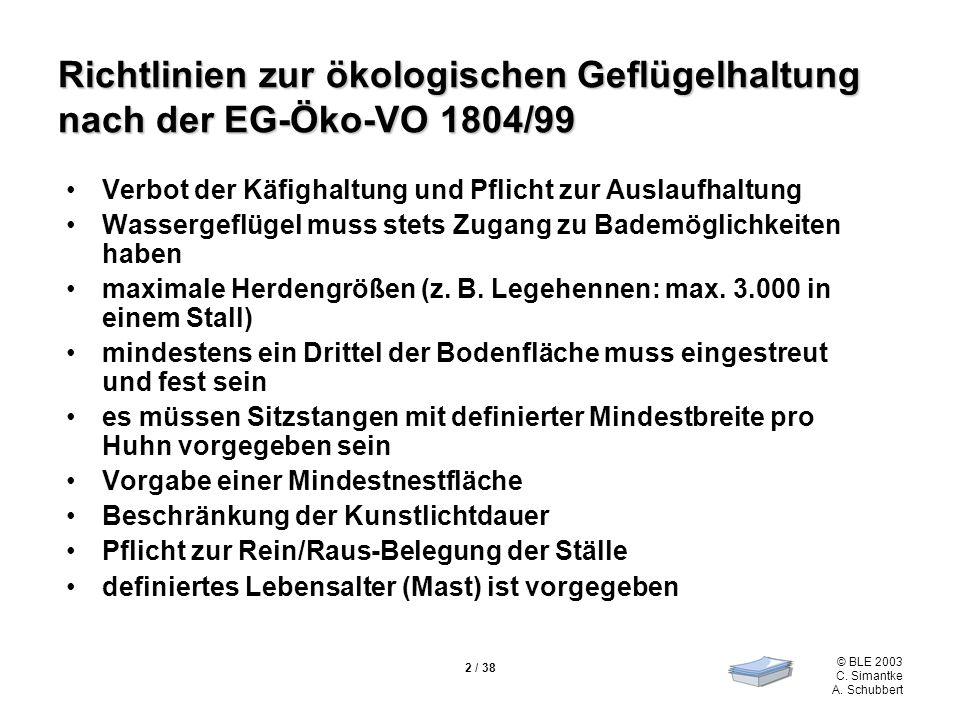 © BLE 2003 C. Simantke A. Schubbert 2 / 38 Richtlinien zur ökologischen Geflügelhaltung nach der EG-Öko-VO 1804/99 Verbot der Käfighaltung und Pflicht