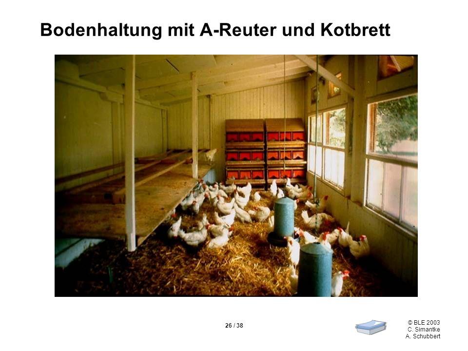© BLE 2003 C. Simantke A. Schubbert 26 / 38 Bodenhaltung mit A-Reuter und Kotbrett