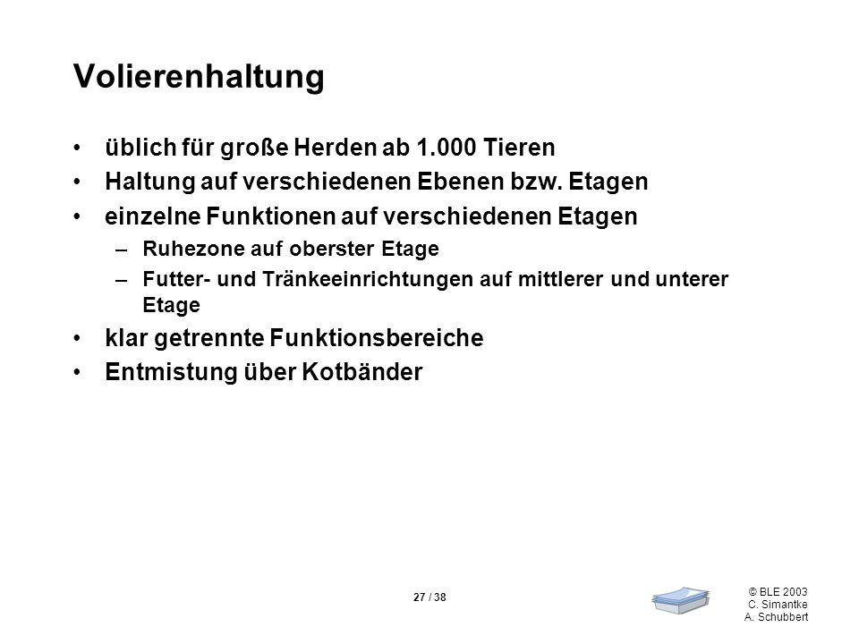 © BLE 2003 C. Simantke A. Schubbert 27 / 38 Volierenhaltung üblich für große Herden ab 1.000 Tieren Haltung auf verschiedenen Ebenen bzw. Etagen einze