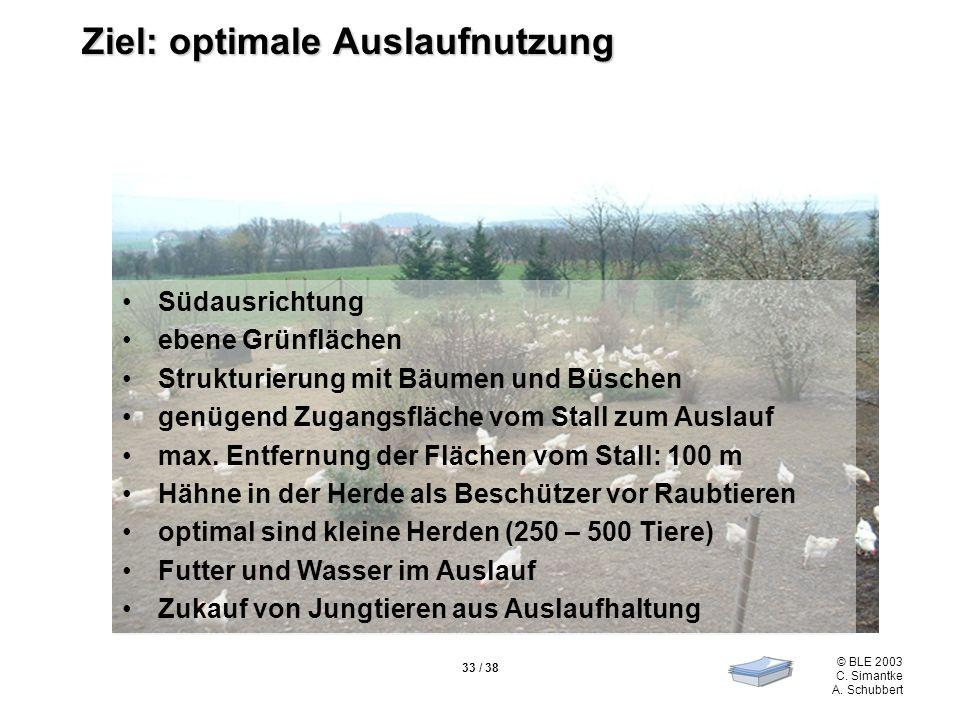 © BLE 2003 C. Simantke A. Schubbert 33 / 38 Ziel: optimale Auslaufnutzung Südausrichtung ebene Grünflächen Strukturierung mit Bäumen und Büschen genüg