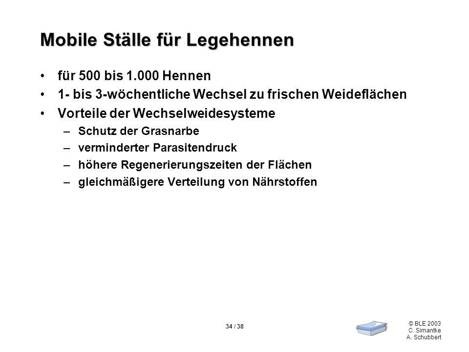 © BLE 2003 C. Simantke A. Schubbert 34 / 38 Mobile Ställe für Legehennen für 500 bis 1.000 Hennen 1- bis 3-wöchentliche Wechsel zu frischen Weidefläch