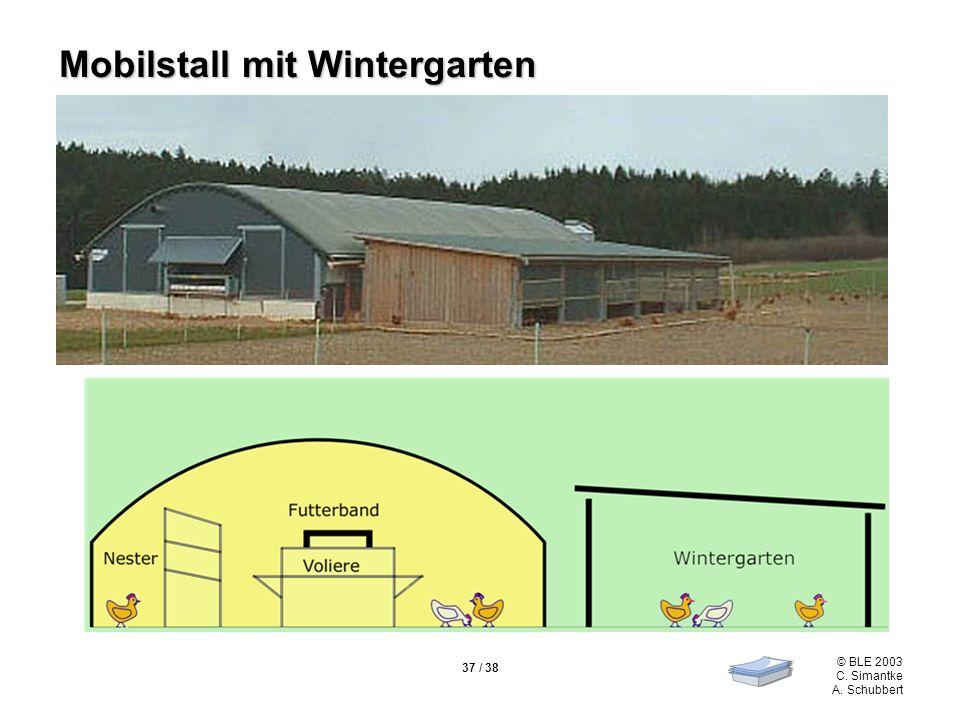 © BLE 2003 C. Simantke A. Schubbert 37 / 38 Mobilstall mit Wintergarten