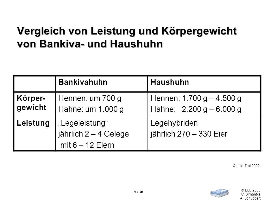 © BLE 2003 C. Simantke A. Schubbert 5 / 38 Vergleich von Leistung und Körpergewicht von Bankiva- und Haushuhn BankivahuhnHaushuhn Körper- gewicht Henn