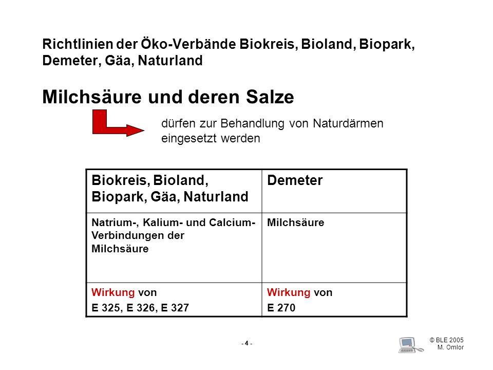 © BLE 2005 M. Omlor - 4 - Richtlinien der Öko-VerbändeBiokreis, Bioland, Biopark, Demeter, Gäa, Naturland Milchsäure und deren Salze Biokreis, Bioland