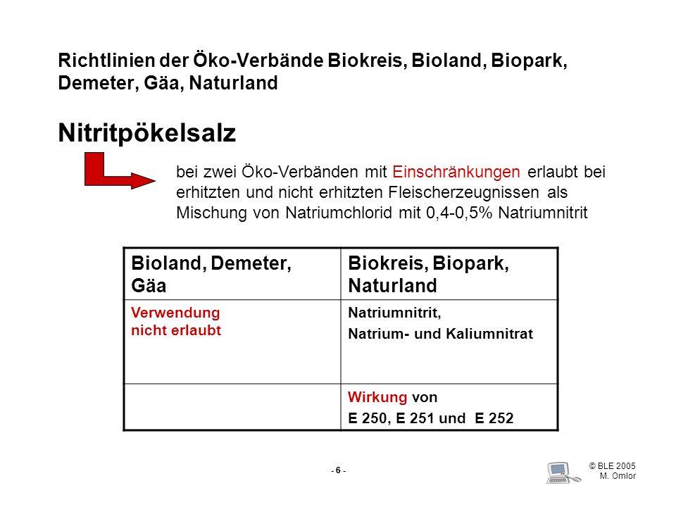 © BLE 2005 M. Omlor - 6 - Richtlinien der Öko-Verbände Biokreis, Bioland, Biopark, Demeter, Gäa, Naturland Nitritpökelsalz Bioland, Demeter, Gäa Biokr