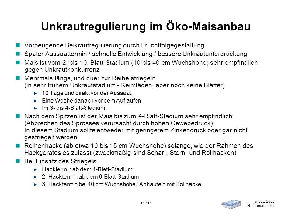 © BLE 2003 H. Drangmeister 15 / 15 Unkrautregulierung im Öko-Maisanbau Vorbeugende Beikrautregulierung durch Fruchtfolgegestaltung Später Aussaattermi