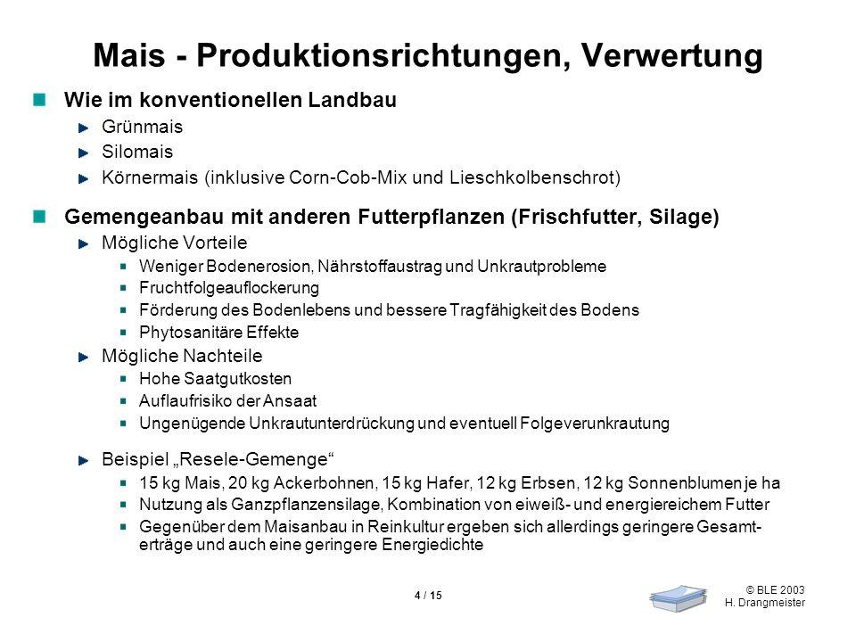 © BLE 2003 H. Drangmeister 4 / 15 Mais - Produktionsrichtungen, Verwertung Wie im konventionellen Landbau Grünmais Silomais Körnermais (inklusive Corn