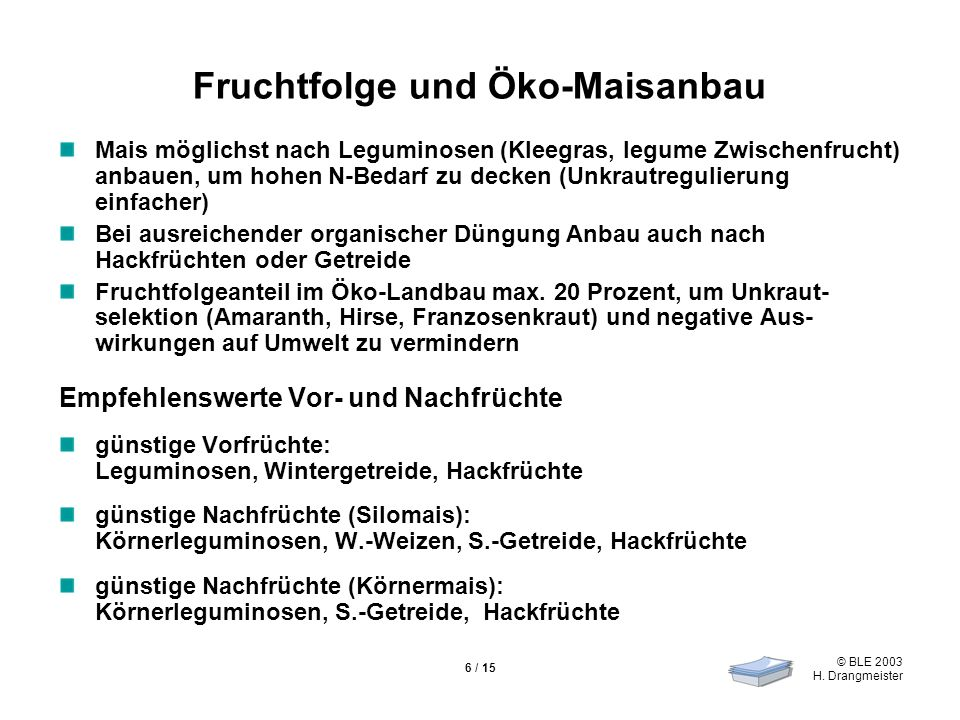 © BLE 2003 H. Drangmeister 6 / 15 Fruchtfolge und Öko-Maisanbau Mais möglichst nach Leguminosen (Kleegras, legume Zwischenfrucht) anbauen, um hohen N-