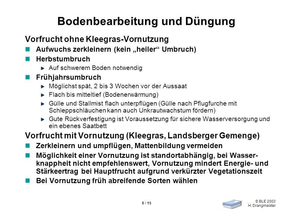 © BLE 2003 H. Drangmeister 8 / 15 Bodenbearbeitung und Düngung Vorfrucht ohne Kleegras-Vornutzung Aufwuchs zerkleinern (kein heiler Umbruch) Herbstumb