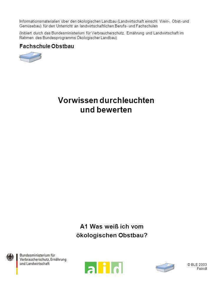 © BLE 2003 Feindt 2 / 13 Grundprinzip ökologischer Obstbau Unterschiede zum konventionellen und zum integrierten Obstanbau.