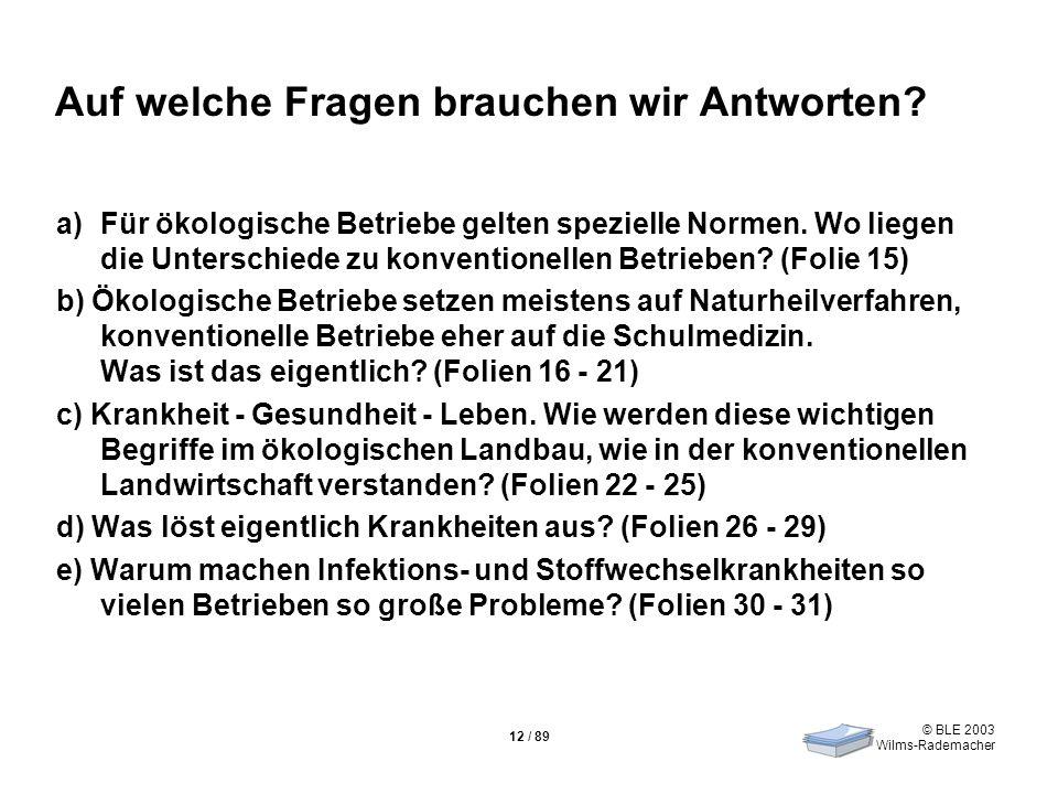 © BLE 2003 Wilms-Rademacher 12 / 89 Auf welche Fragen brauchen wir Antworten? a)Für ökologische Betriebe gelten spezielle Normen. Wo liegen die Unters