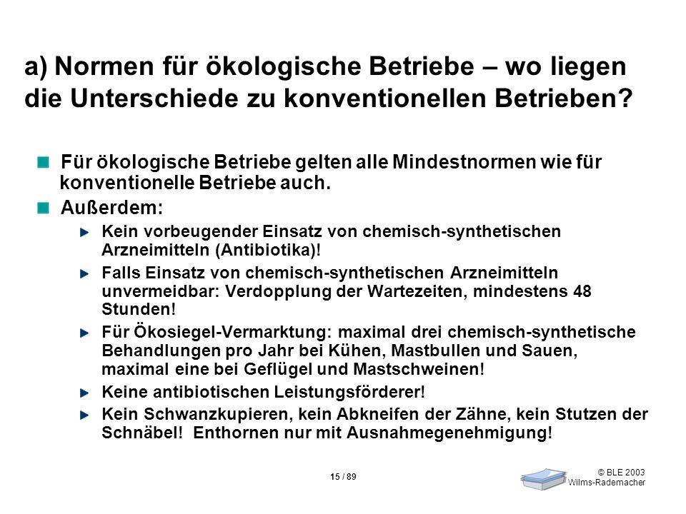 © BLE 2003 Wilms-Rademacher 15 / 89 a) Normen für ökologische Betriebe – wo liegen die Unterschiede zu konventionellen Betrieben? Für ökologische Betr
