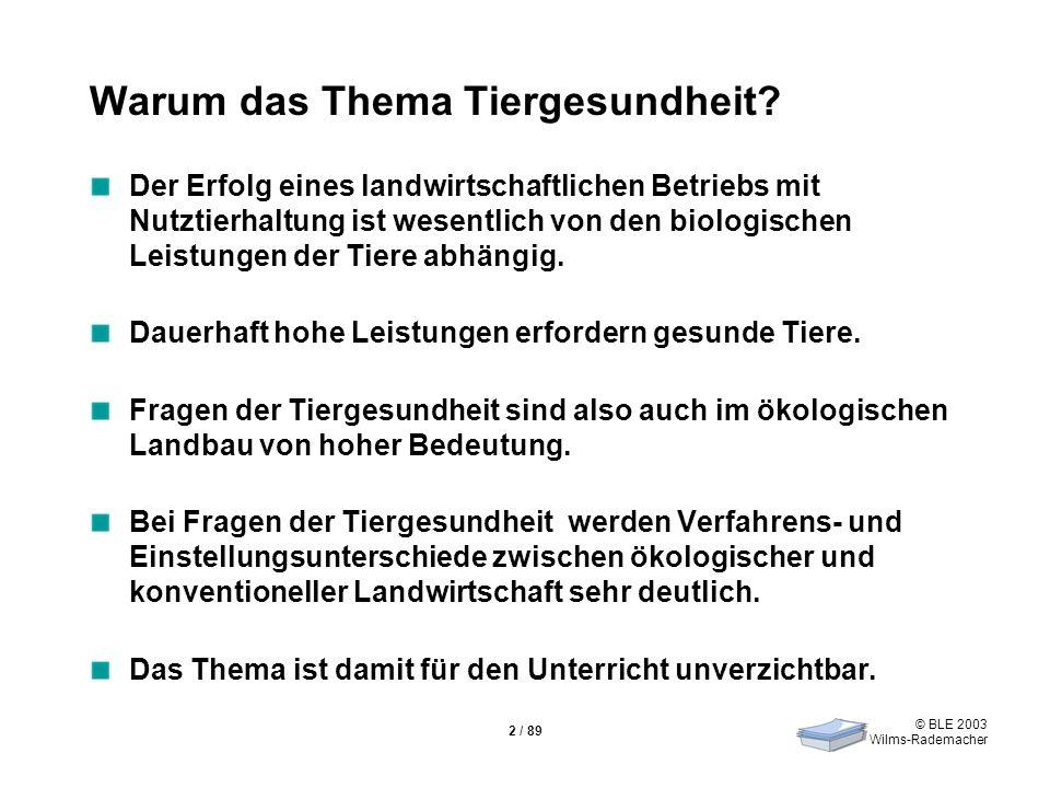 © BLE 2003 Wilms-Rademacher 2 / 89 Warum das Thema Tiergesundheit? Der Erfolg eines landwirtschaftlichen Betriebs mit Nutztierhaltung ist wesentlich v