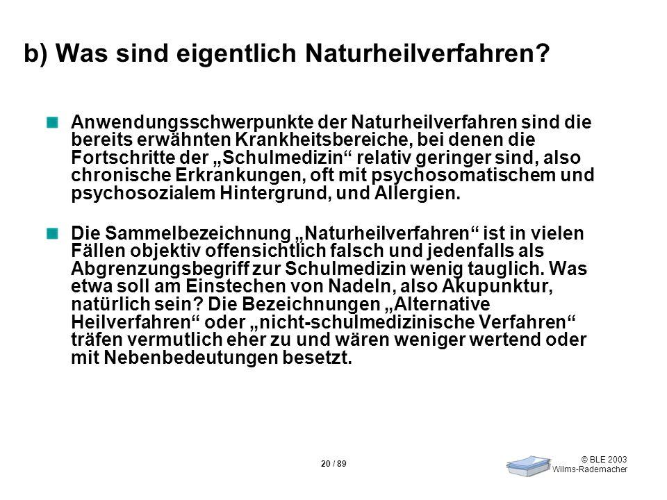 © BLE 2003 Wilms-Rademacher 20 / 89 b) Was sind eigentlich Naturheilverfahren? Anwendungsschwerpunkte der Naturheilverfahren sind die bereits erwähnte