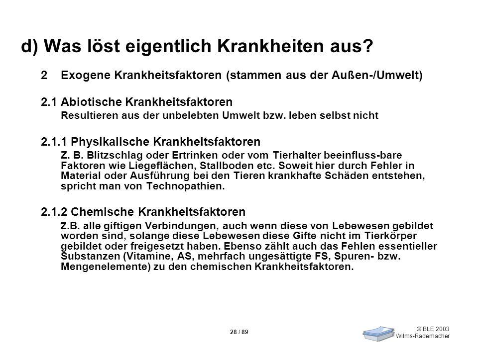 © BLE 2003 Wilms-Rademacher 28 / 89 d) Was löst eigentlich Krankheiten aus? 2Exogene Krankheitsfaktoren (stammen aus der Außen-/Umwelt) 2.1 Abiotische