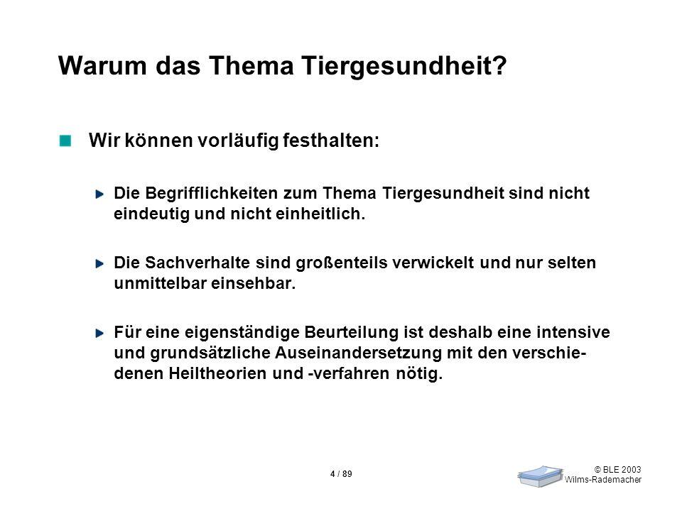 © BLE 2003 Wilms-Rademacher 4 / 89 Warum das Thema Tiergesundheit? Wir können vorläufig festhalten: Die Begrifflichkeiten zum Thema Tiergesundheit sin