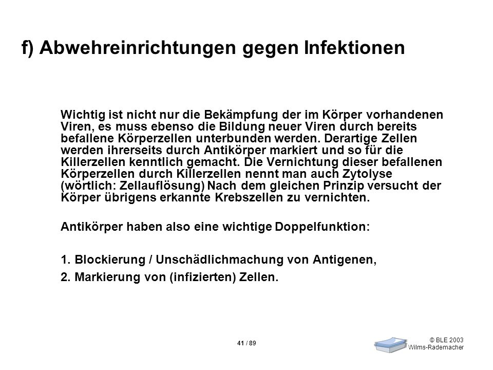 © BLE 2003 Wilms-Rademacher 41 / 89 f) Abwehreinrichtungen gegen Infektionen Wichtig ist nicht nur die Bekämpfung der im Körper vorhandenen Viren, es