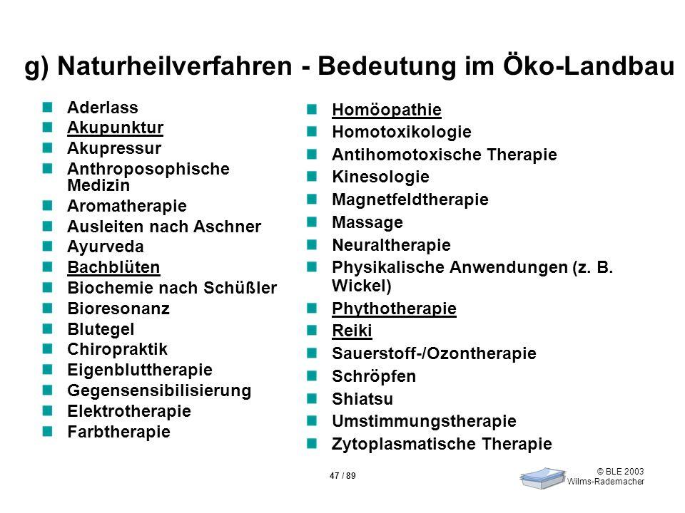 © BLE 2003 Wilms-Rademacher 47 / 89 g) Naturheilverfahren - Bedeutung im Öko-Landbau Aderlass Akupunktur Akupressur Anthroposophische Medizin Aromathe