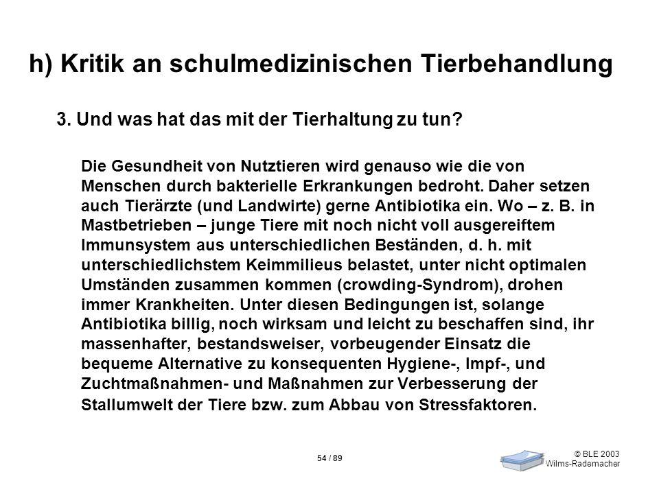 © BLE 2003 Wilms-Rademacher 54 / 89 h) Kritik an schulmedizinischen Tierbehandlung 3. Und was hat das mit der Tierhaltung zu tun? Die Gesundheit von N