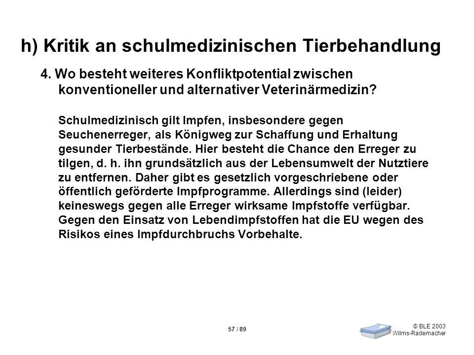 © BLE 2003 Wilms-Rademacher 57 / 89 h) Kritik an schulmedizinischen Tierbehandlung 4. Wo besteht weiteres Konfliktpotential zwischen konventioneller u