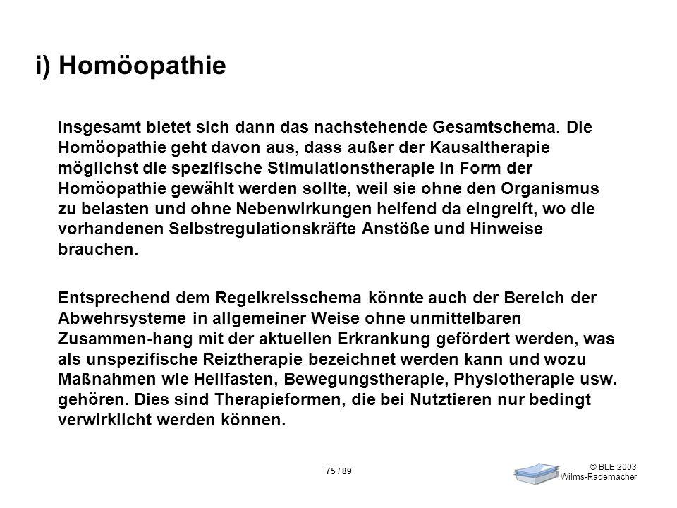 © BLE 2003 Wilms-Rademacher 75 / 89 i) Homöopathie Insgesamt bietet sich dann das nachstehende Gesamtschema. Die Homöopathie geht davon aus, dass auße